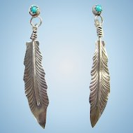 Vintage Southwestern Turquoise Sterling Post Pierced Earrings Single Long Feather