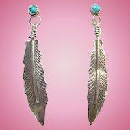 Vintage Southwestern Turquoise Sterling Post Pierced Earrings Single Long Feather