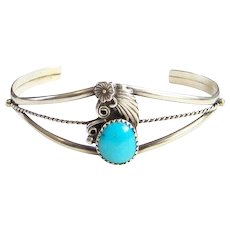 Vintage Navajo Native American Turquoise Cuff Bracelet Signed Sterling R