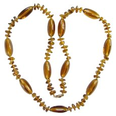 Vintage Art Deco Style Clear Amber Bead Necklace Single Strand 30 Inch