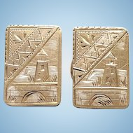 Antique Victorian Aesthetic Gold Filled Cuff Links Signed ACME Pat'd Aug 24 1880