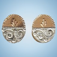 Antique Victorian Gold Filled GF and Silver Metal Aesthetic Cuff Links