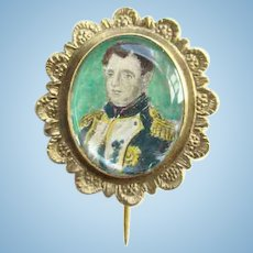 Antique 19th Century Gold Filled Hand Colored Mourning Portrait Pin of Napoleon Bonaparte