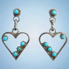 Native American Snake Eye Turquoise Heart Shape Pierced Earrings Sterling Silver