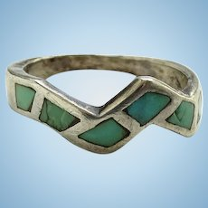 Vintage Southwestern Turquoise Sterling Silver Inlay Stacking Ring Size 8 1/4