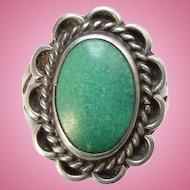 Vintage Dark Seafoam Green Turquoise Native American Sterling Pinky Ring Size 5 Handmade
