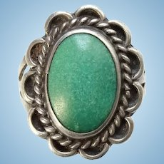 Vintage Dark Seafoam Green Turquoise Native American Sterling Pinky Ring Size 5 Handmade