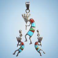 Zuni Kokopelli Turquoise Coral Gaspeite MoP Flute Player Pendant Pierced Earrings Set Signed WR