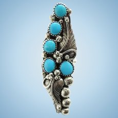 Vintage Native American Navajo Multistone Turquoise Ring Size 8 Sterling Silver Beautiful Design