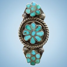 Old Virgil Dishta Sr Zuni Flush Inlay Turquoise Ring Size 6 Sterling Silver Signed