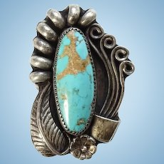 Old Navajo Turquoise and Sterling Ring Signed DP Size 7 Native American Jewelry