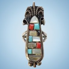 Vintage Zuni Mosaic Inlay Corn Maize Ring Size 8 1/4 Turquoise Coral Mother of Pearl Unique