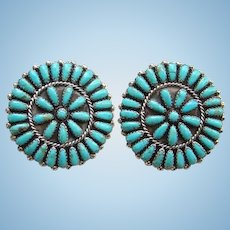 Vintage Petit Point Cluster Turquoise Pierced Earrings Phillip Virginia Byjoe Sterling P. & V. Byjoe