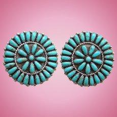 Vintage Petit Point Cluster Turquoise Pierced Earrings Phillip Virginia Byjoe Sterling P. & V. Byjoe
