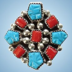 Vintage Running Bear Sterling Silver Cluster Turquoise and Coral Southwestern Ring Size 9 Signed