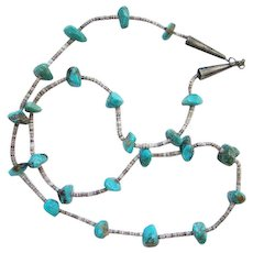 Vintage Native American Turquoise Nugget Bead Necklace Heishi Shell Navajo