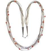 Vintage Native American Liquid Silver Coral Bead Multistrand Necklace Southwestern