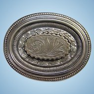 Antique Victorian Silver Metal Etched Repousse Oval Brooch Pin Hollow Tube Hinge