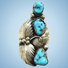Vintage Navajo Turquoise Nugget Ring Signed P Size 6 1/2 Three Stones Sterling Silver Native American