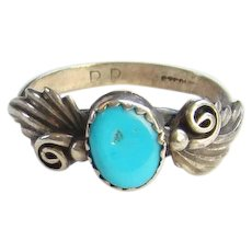 Native American Vintage Turquoise Ring Size 9 Stamped RP Sterling Navajo