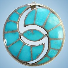 Vintage Zuni Turquoise Hummingbird Pendant Brooch Channel Inlay Sterling Silver