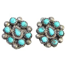 Native American Turquoise Clip Earrings Snake Eye Rosette Cluster Sterling Silver