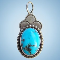 Native American Signed Morenci Turquoise Necklace Pendant with Clouds 925 Sterling Silver