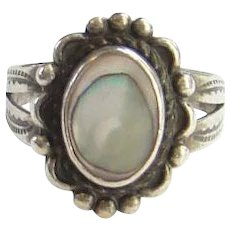 Bell Trading Post Navajo Abalone Shell and Sterling Ring Size 5.5 Fred Harvey Era Native American