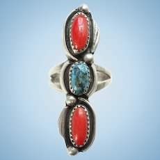 Vintage Clyde Davis Navajo Sterling Silver Red Coral and Turquoise Ring Size 7 Native American