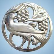 Coro Norseland Sterling Silver Brooch Large Bird Eating Berries C1940s Viking Ship Marking