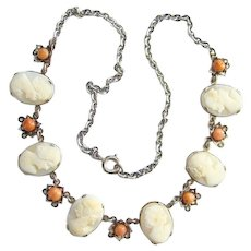 Vintage Victorian  Carved Shell Cameo Coral Necklace 800 Silver Pretty