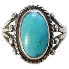 Vintage Native American Turquoise Ring Size 5 3/4 Handmade Cold Chisel Split Sterling Shank