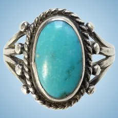 Vintage Native American Turquoise Ring Size 5 3/4 Handmade Cold Chisel Split Sterling Shank