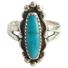 Bell Trading Post Navajo Turquoise Ring Size 6 Signed Sterling Native American Vintage