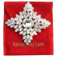 Kenneth Jay Lane KJL Couture Jackie O Brooch Swarovski Crystal Cruciform Rhodium Plated