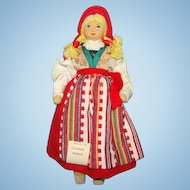Charlotte Weibull Sweden Swedish Costume Cloth Doll with Tag Excellent Condition