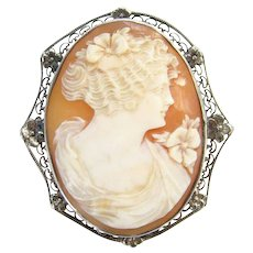 Vintage Hand Carved Shell Cameo Roman Goddess Flora Brooch Pin Sterling Silver Setting