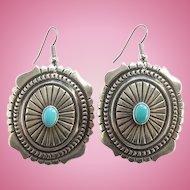 Vintage Southwestern Turquoise Drop Dangle Concho Pierced Earrings Marked Sterling