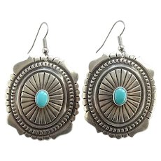 Vintage Southwestern Turquoise Drop Dangle Concho Pierced Earrings Marked Sterling