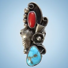 Vintage Navajo Artist Phil Chapo Morenci Turquoise Coral Ring Size 5 1/4 Sterling Silver Native American Jewelry