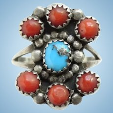 Vintage Native American Coral and Turquoise Ring Size 7 1/2 Sterling Silver