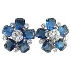 Juliana Sapphire Blue Rhinestone Clip Earrings with Emerald Cut and Clear Stones DeLizza Elster