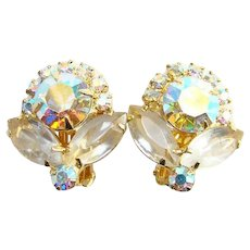 Juliana Aurora Borealis and Clear Rhinestone Clip Earrings Goldtone Setting Mid Century