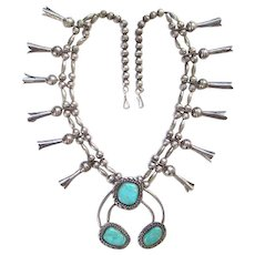 Navajo Turquoise Squash Blossom Necklace Long Blossoms Sterling Silver Native American 24 Inch