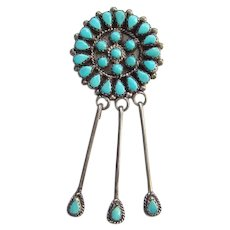 Native American Zuni Lalio Z Petit Point Turquoise Sterling Cluster Pendant Brooch with Dangles
