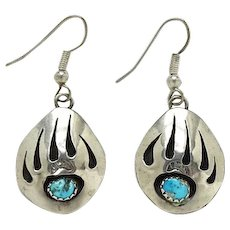 Vintage Native American Turquoise Bear Paw Pierced Earrings Signed Sterling B