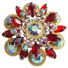 Rare Juliana Red Rhinestone Brooch Pin Twisted Wire Metal Accents Aurora Borealis Circles