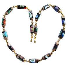 Vintage Italian Murano Millefiori Aventurine Rectangular Art Glass Bead Necklace Italy