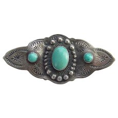 Navajo Fred Harvey Era Pin Brooch Turquoise and Sterling Silver Stamp Decorated