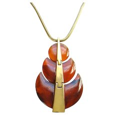 Crown Trifari Runway Faux Tortoise Shell Lucite Pendant Necklace 1970s Signed